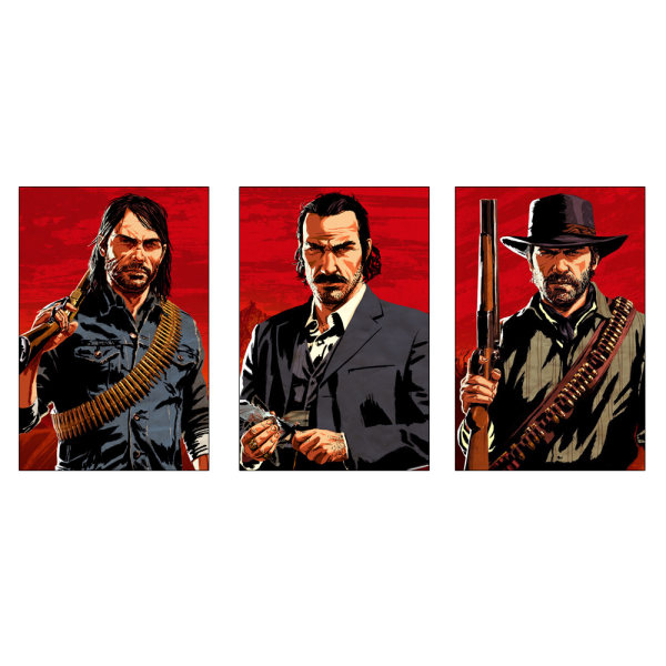 تابلو شاسی طرح بازی Red dead redemption 2 کد AP300 مجموعه سه عددی