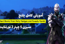 عکس از آموزش چلنج Collect Books from Holly Hedges and Sweaty Sands فورتنایت